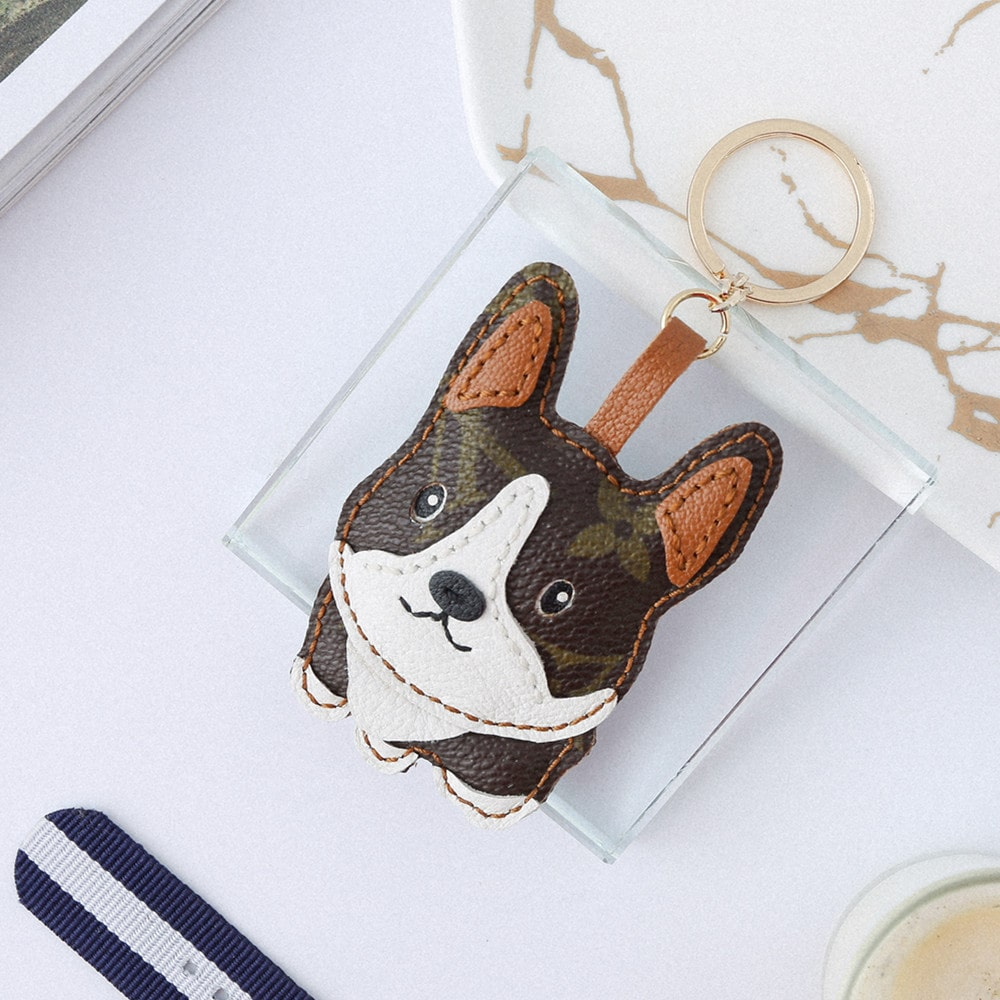 Upcycled Louis Vuitton Cool Corgi Keychain