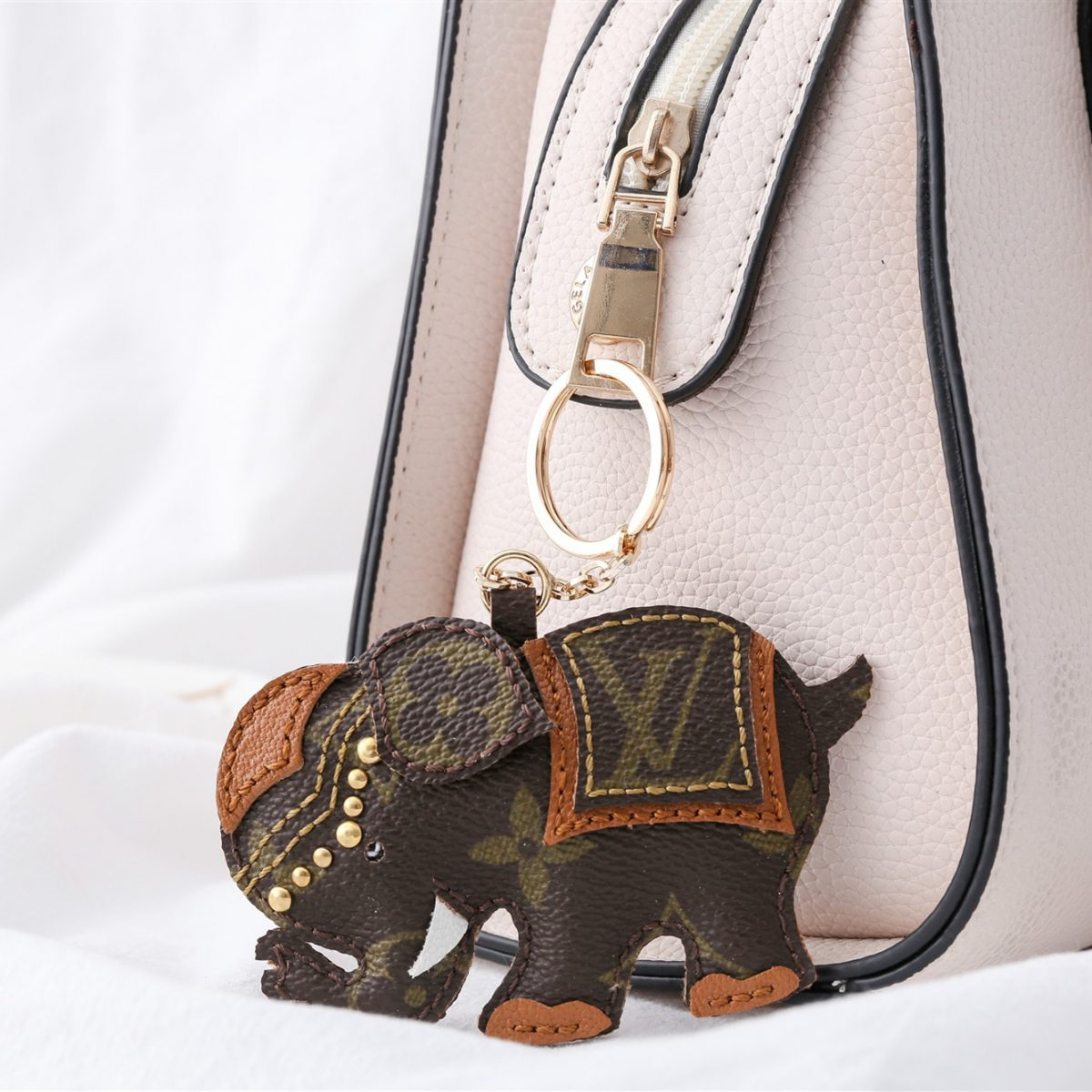 Upcycled Louis Vuitton Asian Elephant Keychain