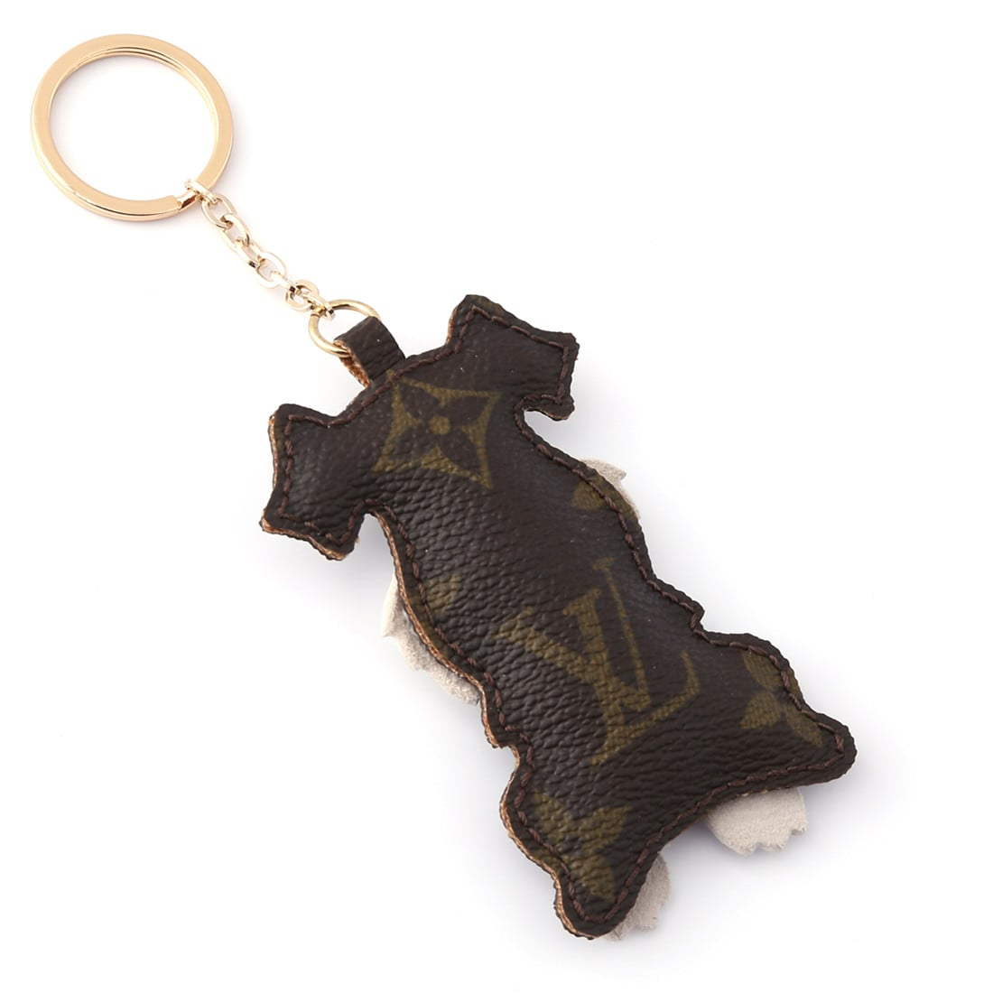 Upcycled Louis Vuitton Cute Schnauzer Keychain