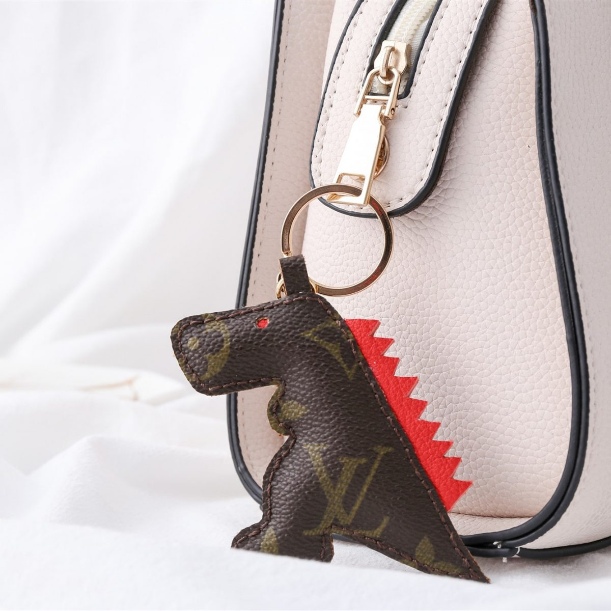 Upcycled Louis Vuitton Cartoon T-Rex Keychain