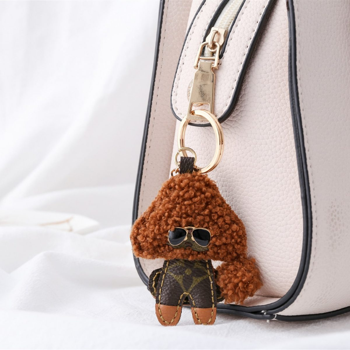 Upcycled Louis Vuitton Lovely Felted Poodle Keychain