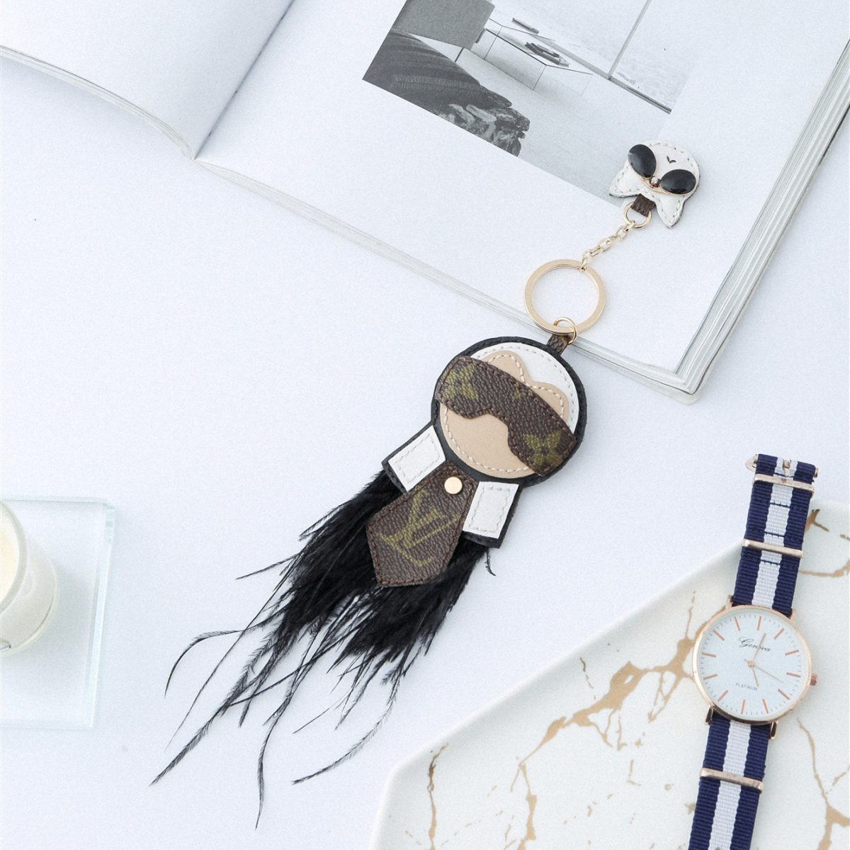 Upcycled Louis Vuitton Karl Lagerfeld And His Cat Keychain