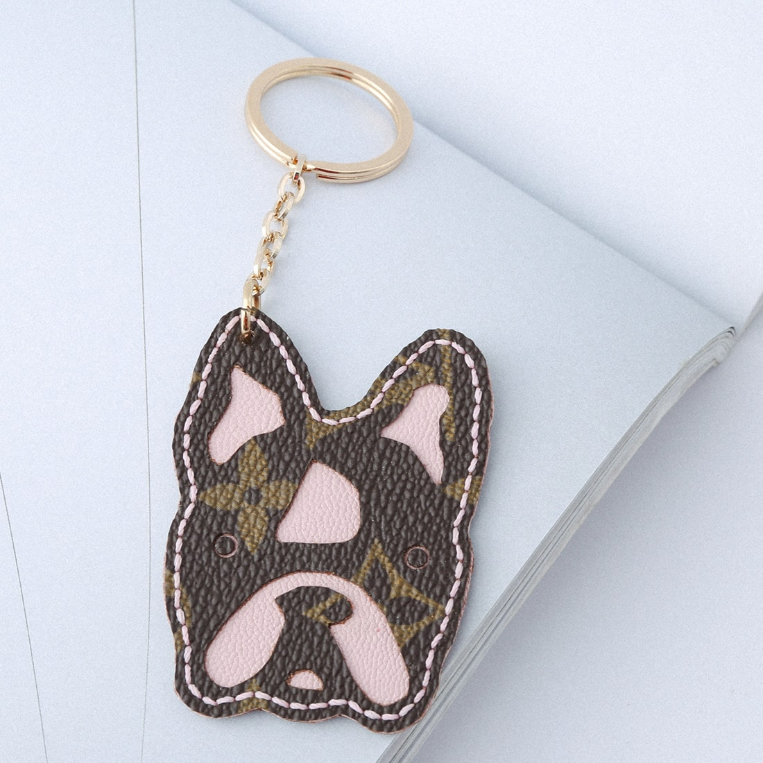 Upcycled Louis Vuitton Bulldog Keychain