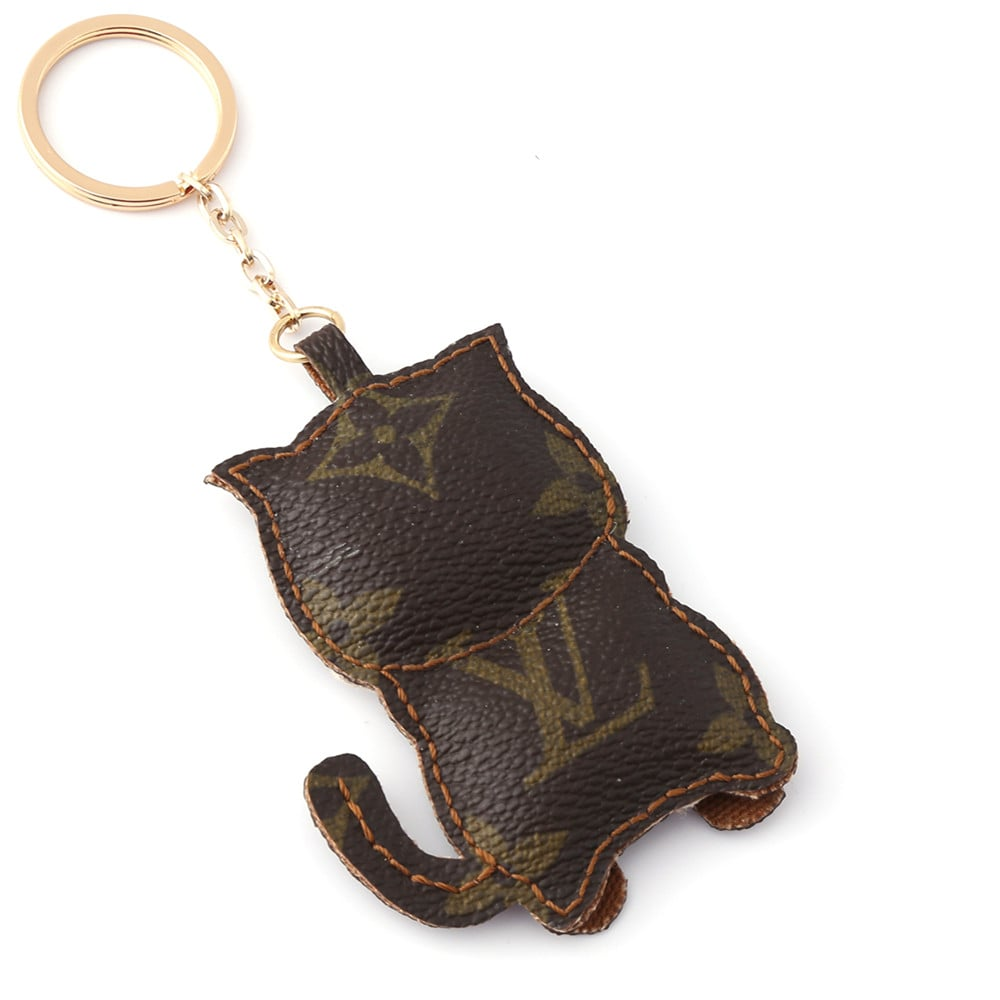 Upcycled Louis Vuitton Cat With Tie Keychain