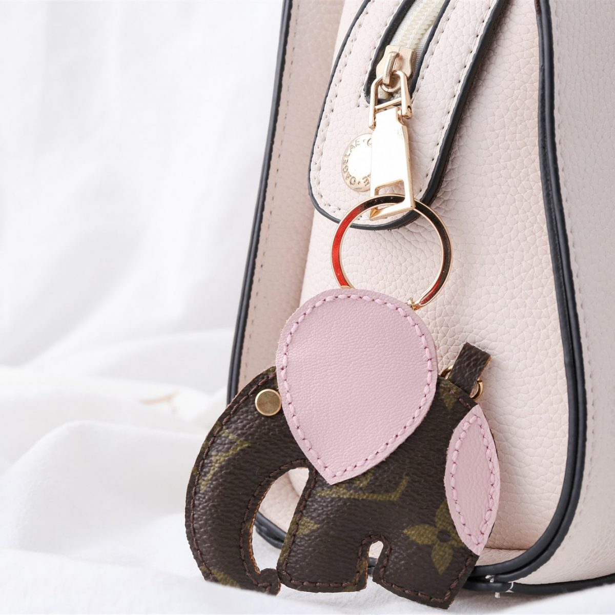 Upcycled Louis Vuitton Double Faced Elephant Keychain