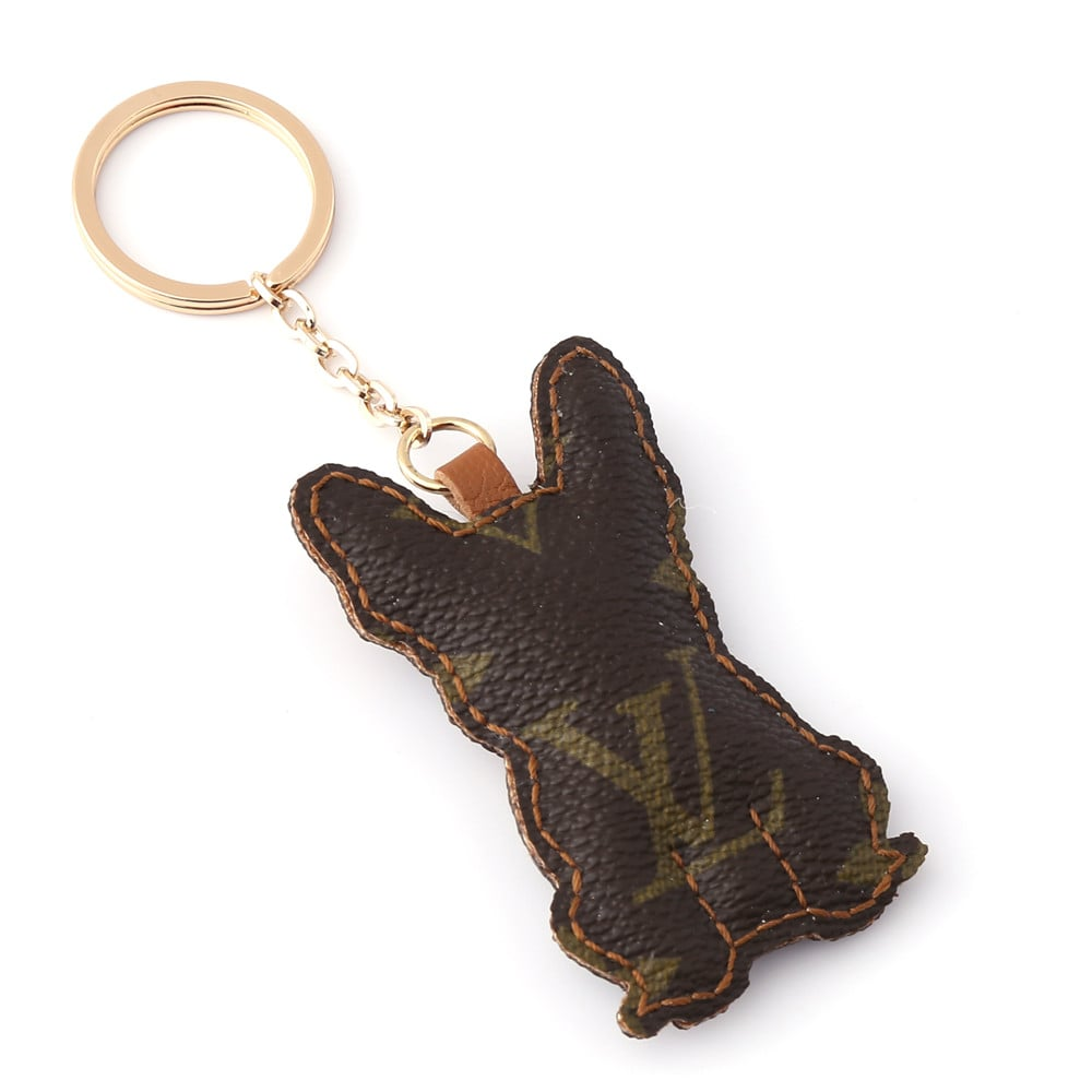 Upcycled Louis Vuitton French Bulldog Keychain