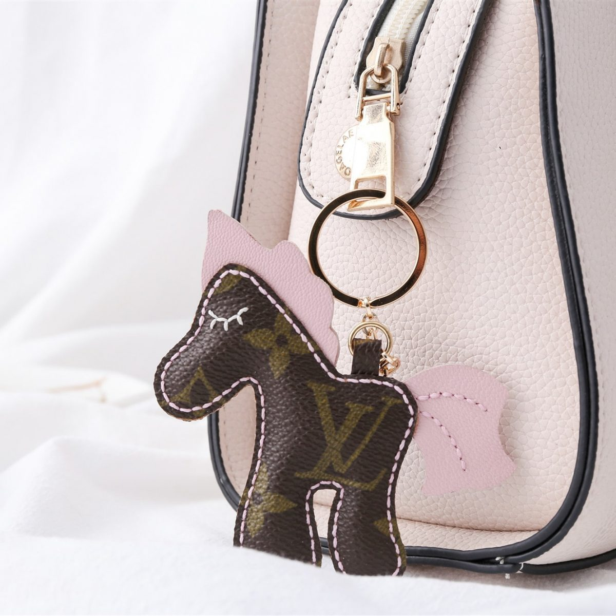 Upcycled Louis Vuitton Cute Horse Keychain