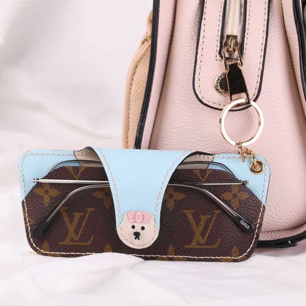 Upcycled Louis Vuitton Cute Pig Glasses Case