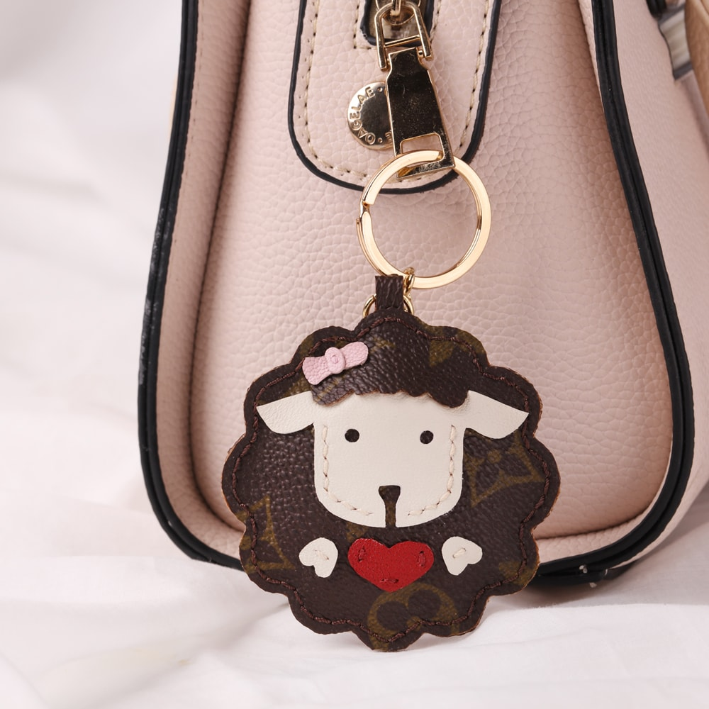Upcycled Louis Vuitton Cute Sheep With Heart Keychain