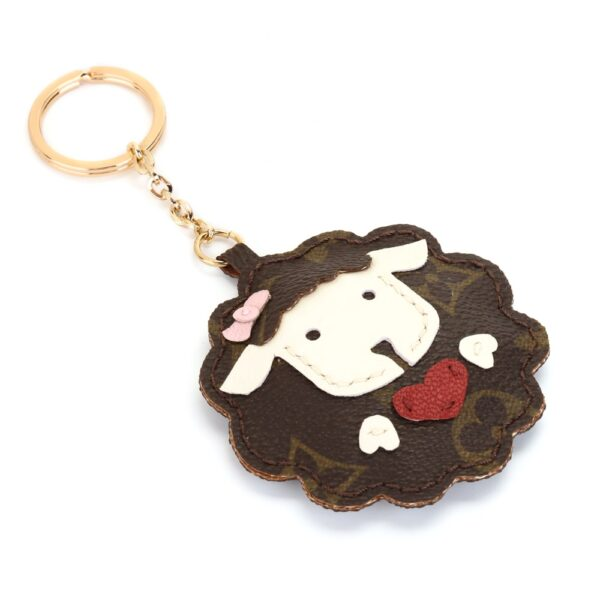 Upcycled LV Cute Sheep Keychain Charm (Heart)